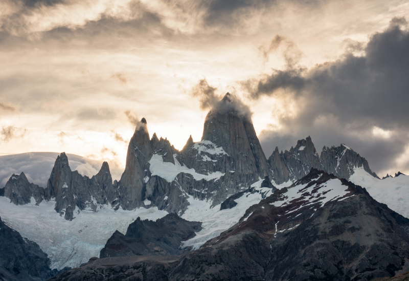 "Skyline of Monte Fitz Roy's jagged peaks, the site of the short film ""A Line across the Sky"""