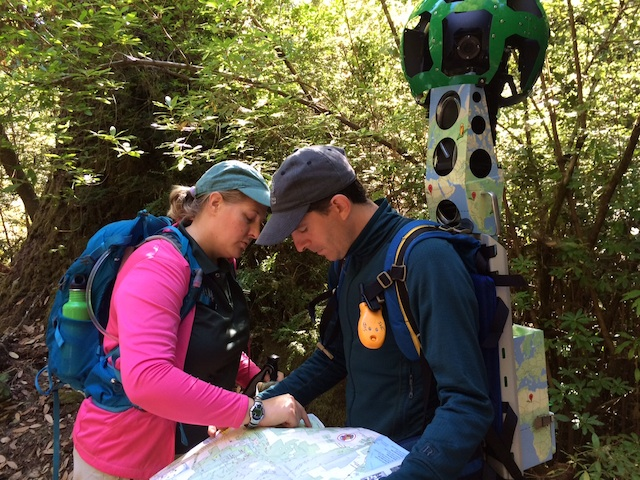 Sempervirens Fund tribute program manager Amanda Krauss and volunteer Paul Davis decide on a route at Big Basin, where Sempervirens Fund and Google Trekker teamed up earlier this year to map 60 miles of trail. Hilltromper photo.