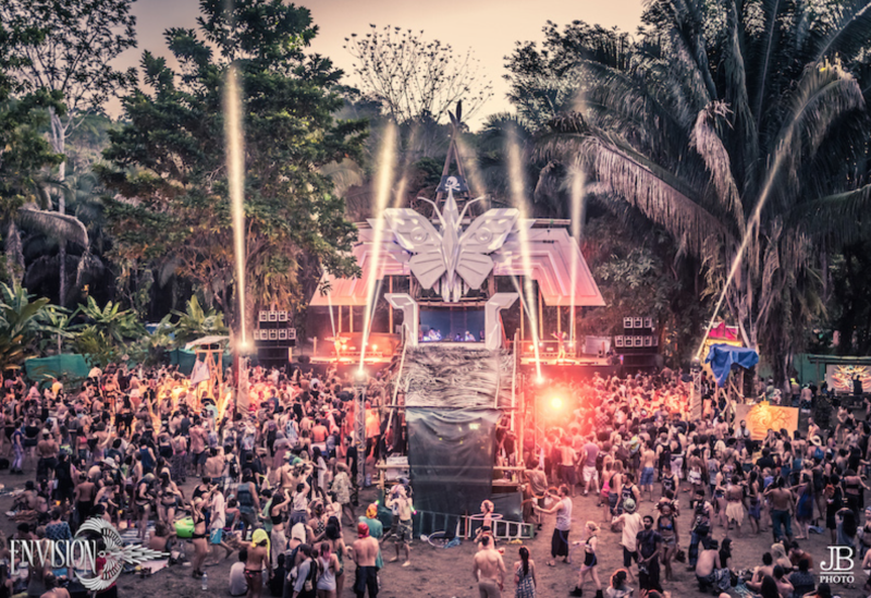 Envision Festival goers gather in front of one of the stages for a DJ performance. Photo courtesy of JB Photography