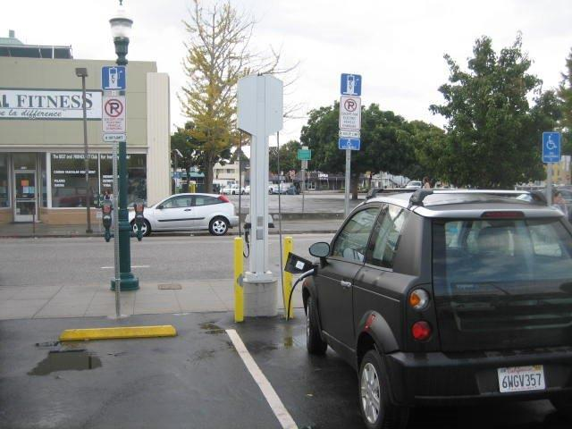 Free EV charging is available in four public parking lots and garages in downtown Santa Cruz.