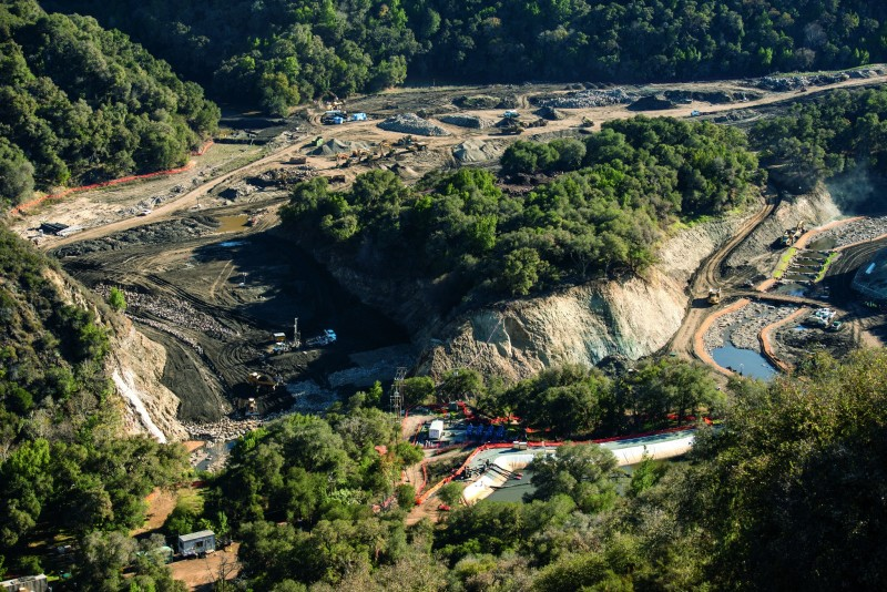 The removal of the San Clemente Dam is complete, and the Carmel River has been rerouted to carry the combined flows of both the Carmel River and San Clemente Creek downstream in Carmel Valley, Calif., November 12, 2015.  The 106-foot tall arch concrete dam was removed from the Carmel River in August of 2015 to eliminate the seismic safety risk it posed. In addition to DSOD Engineers and Geologists reviewing and approving the demolition plan, they inspected the site to ensure stability of the land surrounding the demolished dam and the two new sediment retention structures. Further restoration work is expected in 2016 by the dam owner. For more information, visit http://www.sanclementedamremoval.org/ Florence Low / California Department of Water Resources