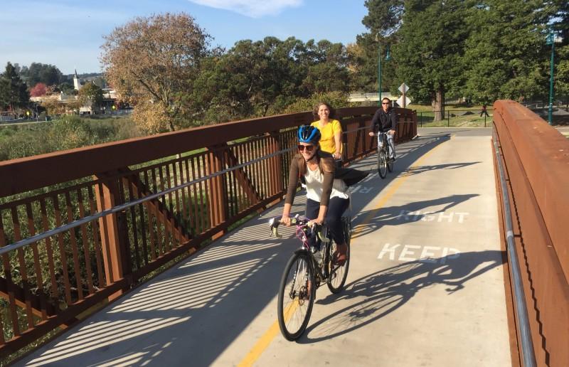 crop bridge cyclists
