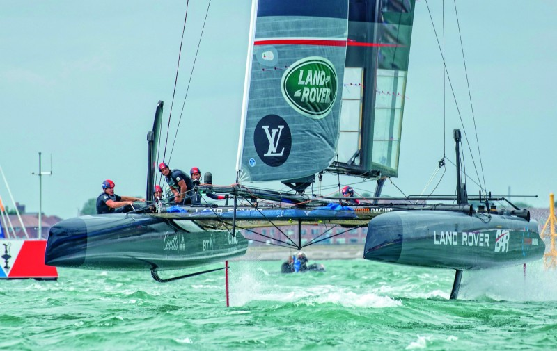 The Duke and Duchess of Cambridge watch Sir Ben Ainslie and team win Louis Vuitton America's Cup World Series Portsmouth.